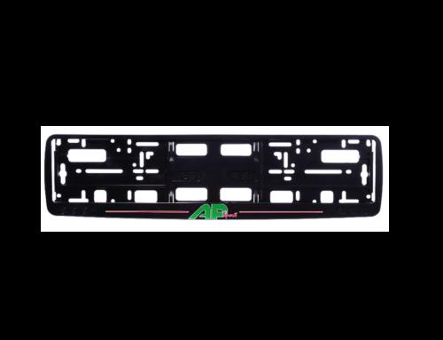 Okvir registarske tablice sa logotipom u sito štampi na ukrasnoj lajsni (kružići) – crna