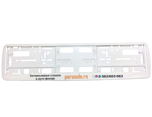 Licence Plate Frame – MODEL I – Screen Printing – White – 176GP