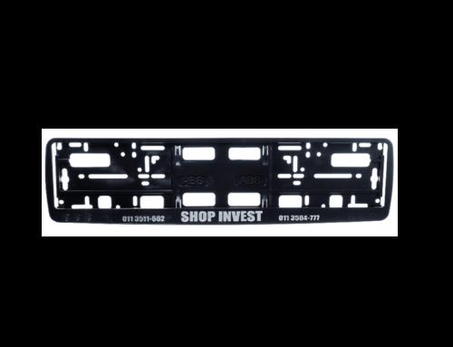 Okvir registarske tablice sa graviranim logotipom na ukrasnoj lajsni (kružići)
