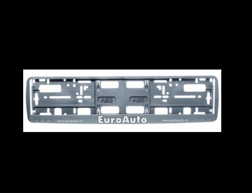 Okvir registarske tablice sa logotipom u sito štampi na ukrasnoj lajsni (kružići) – siva